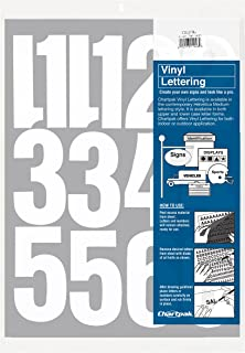 Chartpak Self-Adhesive Vinyl Numbers, 4 Inches High, White, 23 per Pack (01196)