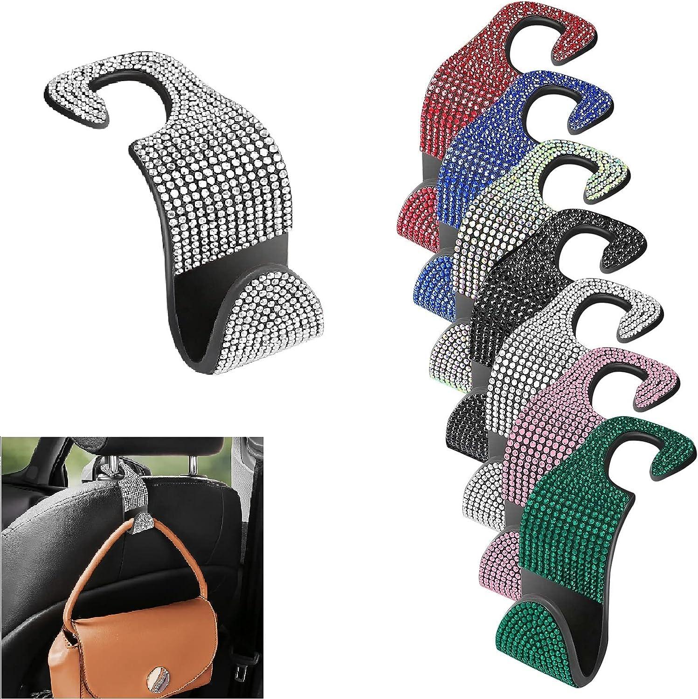 Crystal Bling Rhinestone Car Seat Hooks,Headrest Auto Seat Hook Backseat Hangers Organizer Durable Auto Car Hooks for Handbag Purse Clothes Hat Universal Vehicle Decor Accessories