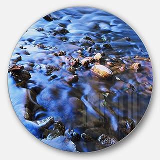 Designart Rock Blue River Panorama Beach Round Metal wall Art - Disc of 23, 23X23-Disc of 23 inch