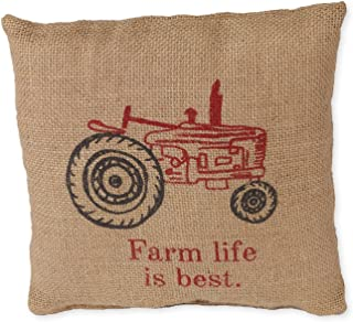 Small Farm Life is Best Red Old Tractor 8 x 8 Burlap Decorative Throw Pillow