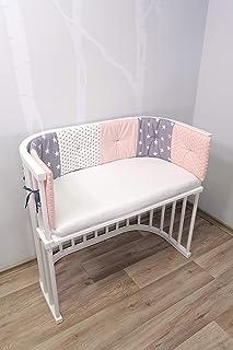 ULLENBOOM Protector para bordes de cuna │ Chichonera bebé también para colecho │ Parachoques de algodón 145 x 24 cm │ rosa gris