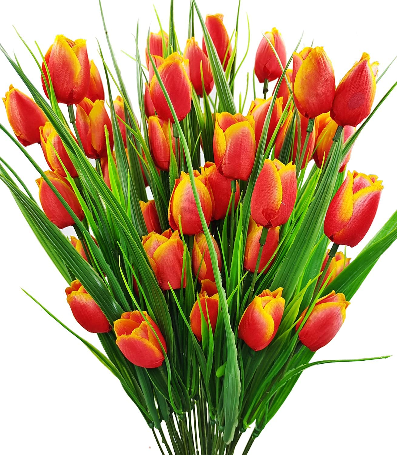 Guagb 8 In stock Bundles Outdoor Artificial Fake OFFicial Tulips Flowers UV Resist
