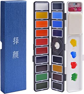 Watercolor Paint Set - 18 Assorted Colors Professional Travel Mini Portable Pocket Watercolor Field Sketch Set for Artist, Kids & Adults Field Sketch Outdoor Painting