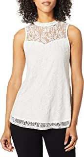 A. Byer womens Sleeveless Mock-Neck Woven Top with Lace Yoke (Juniors) Blouse