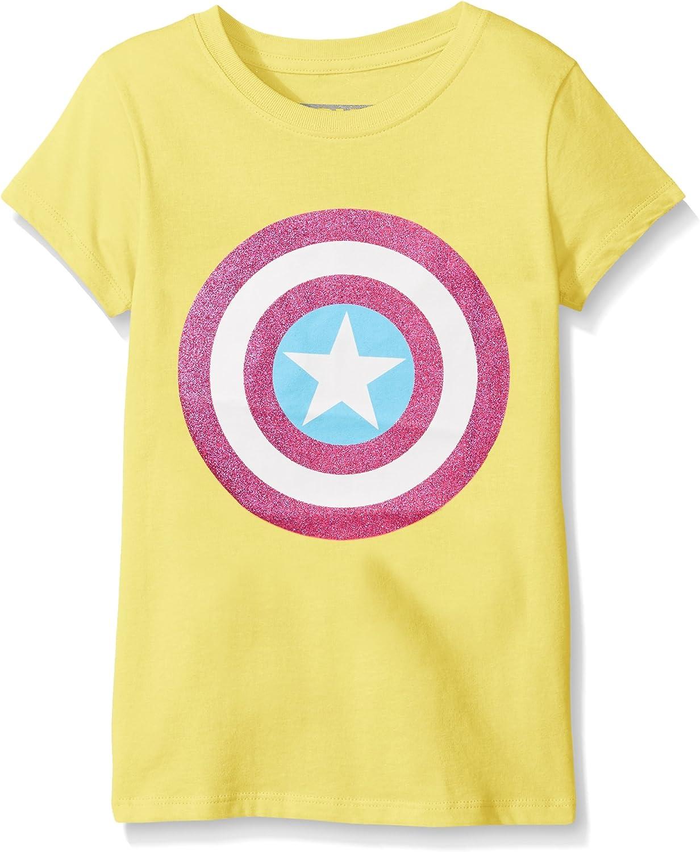 Marvel Girls' Captain America or Marvel Group Short Sleeve T-Shirt Shirt, Tart Yellow, Medium