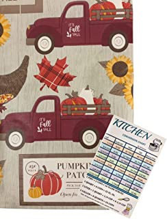 Autumn Farm Truck Vinyl Tablecloth Flannel Backed Fall Harvest Foliage Sunflowers Pumpkin Patch Sign Indoor Outdoor with C...
