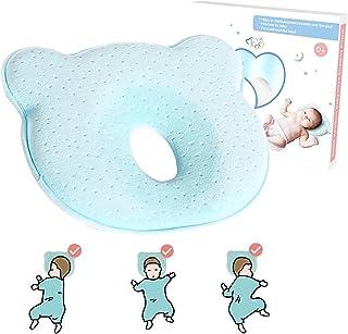 QHGC بالش سر نوزاد نوزاد (فوم کاپوت حافظه) جلوگیری از سندرم سر تختخواب (پلاژیوففا) و پشتیبانی گردن، بالشتک 100٪ بالدار پنبه ای، بهترین ایده آل برای نوزادان 0-12 ماهه