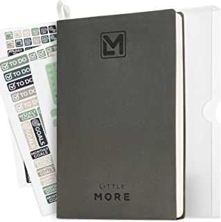 """Little More Daily Organizer Planner in Protect Box - Undated Productivity Planner for Achieve Goals - A5 Vegan Leather 5.5""""x8.5"""" - Calendar Stickers 2020 (Gray White)"""