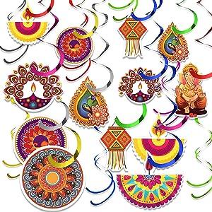 48 Pieces Diwali Decorations Swirls Happy Diwali Hanging Decor Diwali Lights Party Decorations Kit Diwali Deepavali Hanging Swirls Decorations for Lights Party
