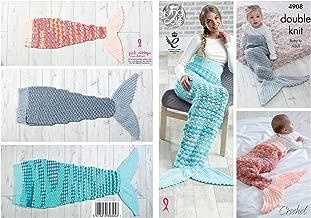 King Cole Double Knit Crochet Pattern - to make Ladies Kids & Babies Mermaid Tail Blankets (4908)