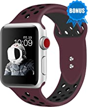 NOMBARGO Sport Watch Band Replacement for Apple Watch Band 42mm 44mm Comfortable Silicone Wrist Band Compatible with Series 1 to 5 (Purple-Purple)