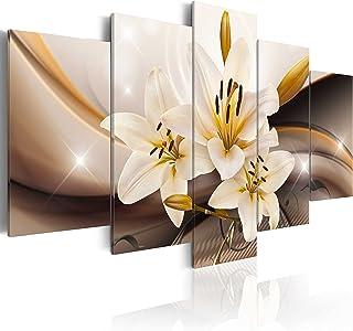 comprar comparacion murando - Cuadro en Lienzo Flores Lirios 100x50 cm Impresión de 5 Piezas Material Tejido no Tejido Impresión Artística Ima...