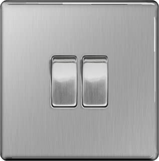 BG Electrical Screwless Flat Plate Double Light Switch, Brushed Steel, 2-Way, 10AX