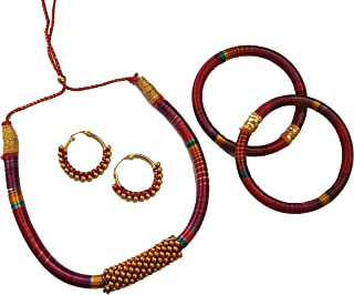 jaipri Maroon Colour Silk (Resham) Handmade Necklace with Earring and Bangles for Women & Girls (Mehandi/Haldi/Bride)
