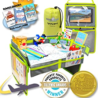 Airplane Foldable Origami Kids Travel Tray - Bonus Activity Side Pockets for Entertainment or Toys Travel Organizer for Toddler, Portable Kids Waterproof, Baby Play Space and Snack Desk