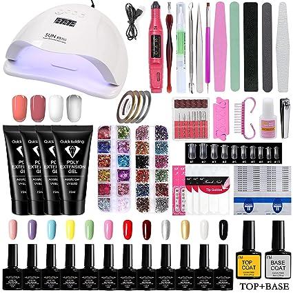 Professional Ziomizi Gel Nail Polish Kit with 72W UV LED Nail Lamp, Nail Drill Set, and Various Nail Tools for Beginners Home and Nail Salon Use