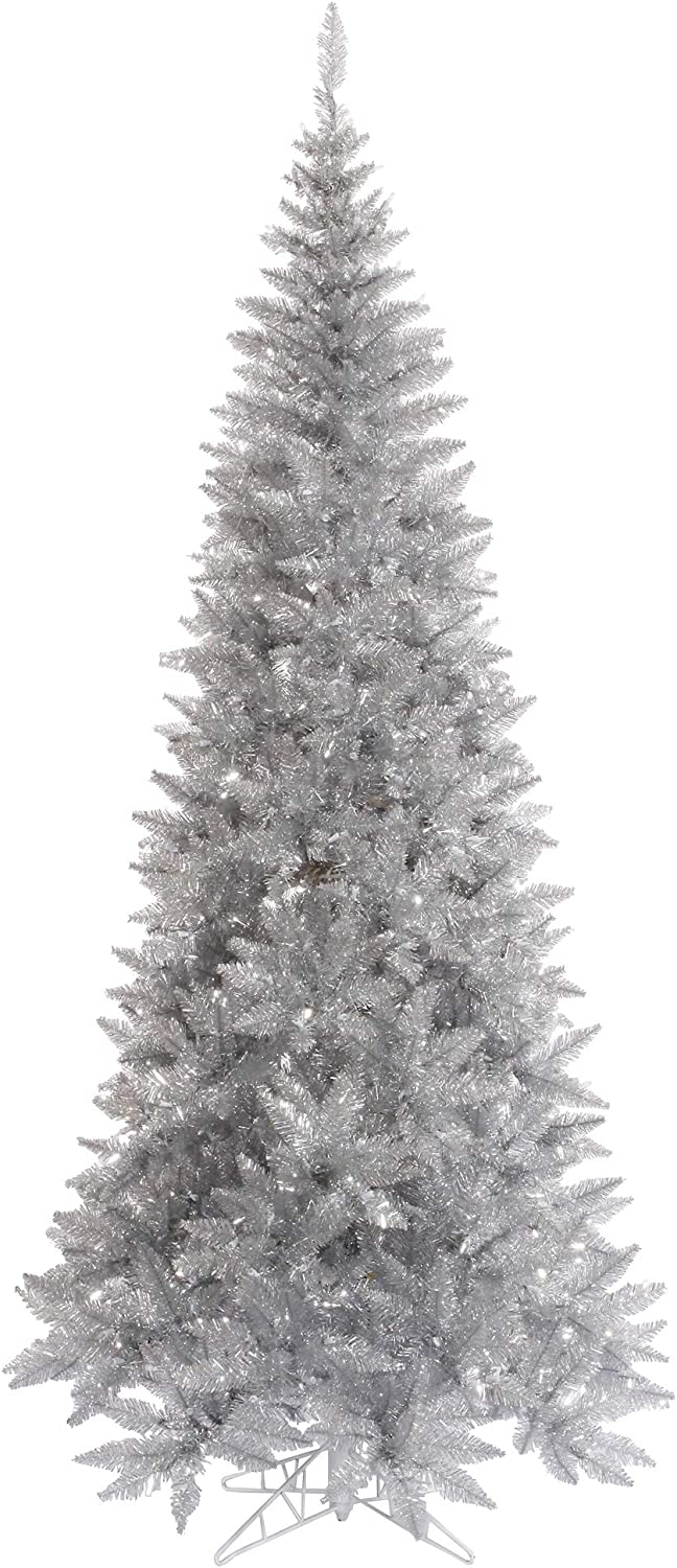 Vickerman 4.5' Silver High material Tinsel Fir Artificial Tree Limited Special Price Slim Christmas