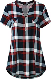 shinianlaile Womens Short Sleeve Cout Out V Neck Tunic Tops Casual T Shirts