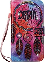 iPhone 8 Plus Case, iPhone 7 Plus Case, Easytop Luxury Bling Design PU Leather Case Wallet Flip Cover Case with Hand/Wrist Strap Built-in Card Slots & Stand Magnet Closure (Dream Catcher)