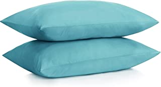 ALEXANDRA'S SECRET HOME COLLECTION Microfiber Pillow Case with Zipper, 2 Pillow Cases (Standard, Aqua)