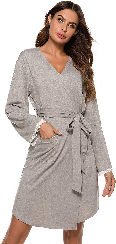 Vlazom Women Soft Robes Lightweight Long Kimono Robe Lace Trim Knit Bathrobe Sleepwear Loungewear S-XXL