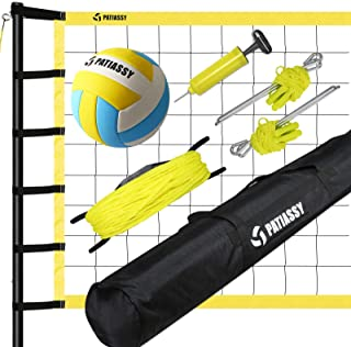 Patiassy Outdoor Volleyball Set Portable Volleyball Net with Adjustable Height Poles, Volleyball with Pump and Carrying Ba...