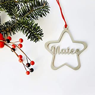 Estrellas de Navidad de metacrilato plata personalizadas ornamento para el árbol de Navidad