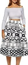 Afibi African Print Skirts for Women Boho Plus Size Flare Pleated Midi Skirts
