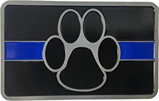 Color Gloss Black Graphics and More Police License Plate Tag Frame Thin Blue Line K-9 Unit Paw Prints