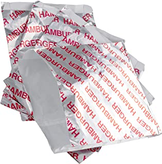 Retro, Grease Proof Burger Wrappers 100pk. Great BPA Free Cookout Supply. Pro Quality Bulk Hamburger Bags are Large and Insulated. Allergen Friendly BBQ Foil Paper Perfect for Baseball Themed Party.