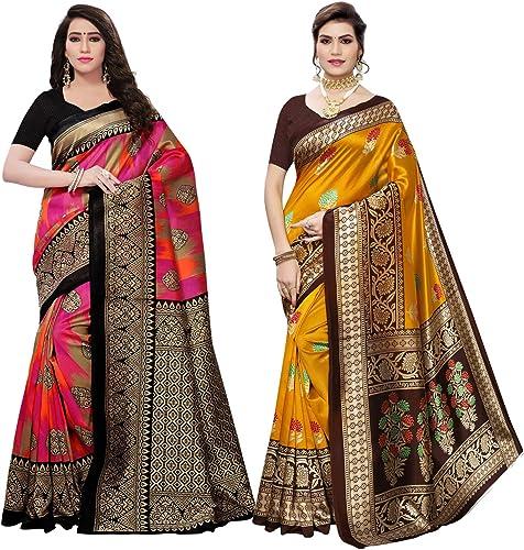 Satrani Women s Art Silk Printed Sarees Combo Pack of 2 800ST39 1458ST150 Pink Mustard free size