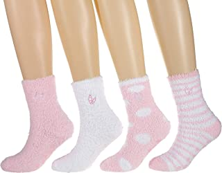 Twin Boat Fuzzy Socks for Women (4 Pairs) - Anti-Skid Warm Socks for Women