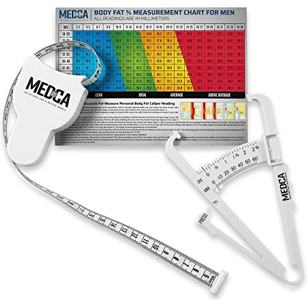 Personal Body Fat Tester Calipers Tape Measure and Fat Charts Fitness MeasureHBJ