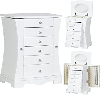 Best Choice Products Wooden Handcrafted Jewelry Box Organizer Armoire Cabinet Storage Chest, White