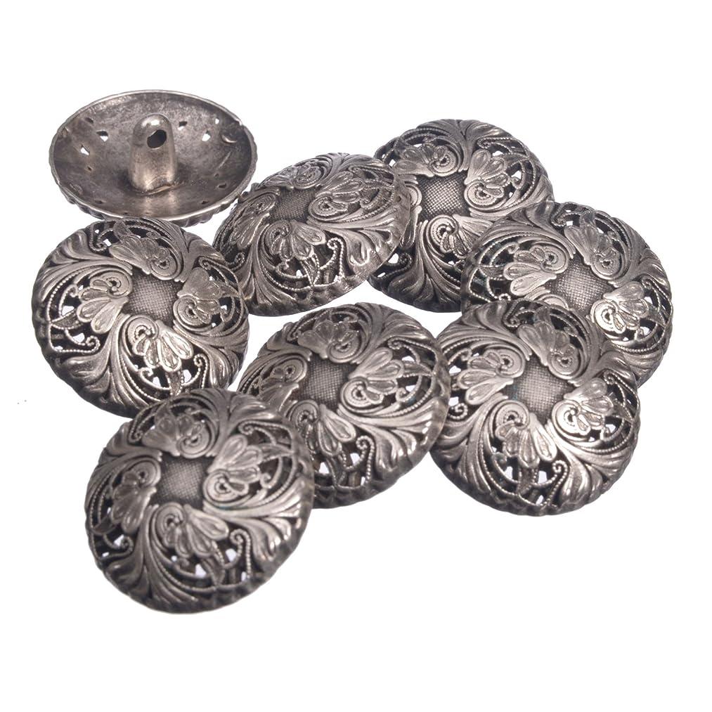 Zinc Diecasted Metal Shank Button - Renaissance Floral Pattern - 36 Line - Antique Silver