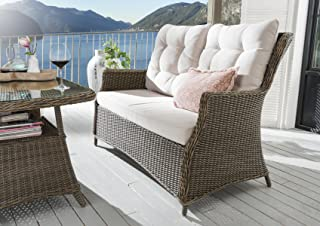 Destiny 2er Loungesofa Casa Vintage braun Geflechtsofa Sofa Gartensofa mit Polster