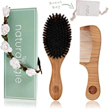 Boar Bristle Hair Brush Set by Naturalogie - Detangling Brush for Women, Kids, and Men. Includes Wooden Comb that Restores Shine and Texture To Your Hair. Bonus Gift Bag and Flower Crown