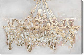 """The Oliver Gal Artist Co. Fashion and Glam Wall Art Canvas Prints `Candelabro` Home Décor, 36"""" x 24"""", Gold, White"""