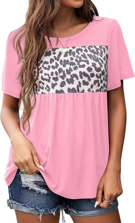 GRECERELLE Women's Casual Colorblock Tunics Leopard Print Tops Short Sleeve T Shirts Summer Blouse