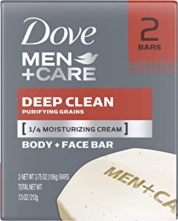 Dove Men+Care Body and Face Bar, Deep Clean 4 oz, 2 Bar