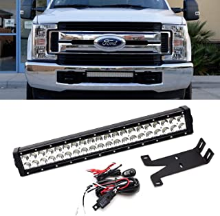 iJDMTOY Front Bumper Mount 20-Inch LED Light Bar Kit For 2017-up Ford F250 F350 Super Duty, Includes (1) 120W High Power LED Lightbar, Lower Bumper Mounting Brackets & On/Off Switch Wiring Kit