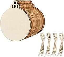 con 15m Cuerda de C/á/ñamo Adecuado para Manualidades 3-6cm Albumes de Recortes Proyectos Personalizados FOCCTS 60pcs Rodajas de Madera C/írculos Natural 3 Tama/ños Adornos