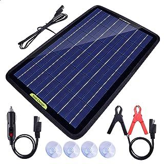 Eco Worthy Tragbares Akku Ladegerät mit Solarmodul, 12 V, 10 Watt, Backup für Auto, Boot, mit Krokodilklemm Adapter
