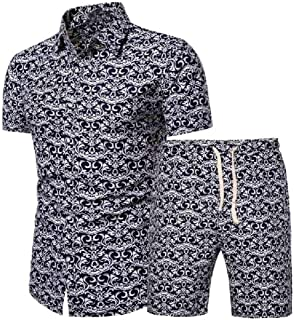 Coolred Men Flower Print Short-Sleeve Plus Size 2-Piece shirt Top With Shorts