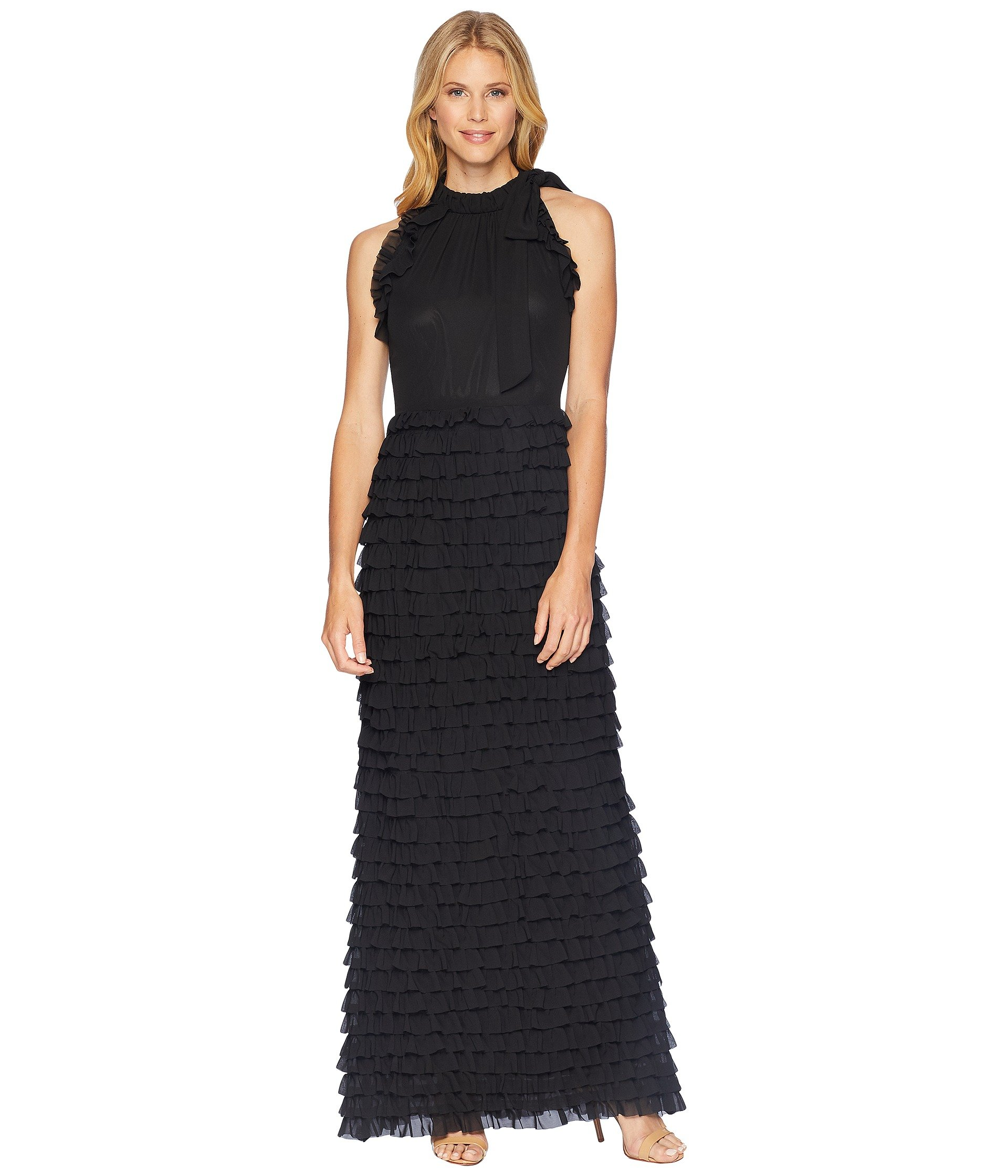 in Sleeveless A a silhouette gown Skirt with ASL Tahari Gown Ruffled ...