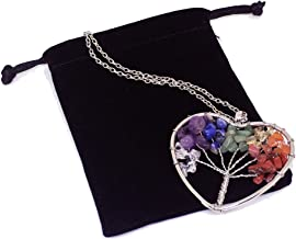Duseco Tree of Life Pendant Amethyst Rose Crystal Necklace Gemstone Chakra Vintage Jewelry Gifts for Mothers (Heart)