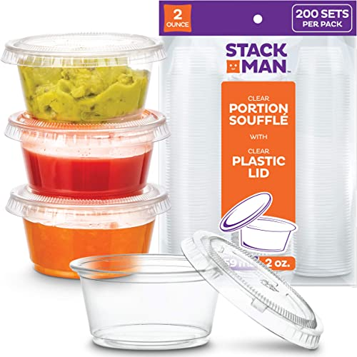 [200 Sets - 2 oz.] Small Plastic Containers with Lids, Jello Shot Cups, Condiment Cups, 2oz Dipping Sauce & Salad Dre...