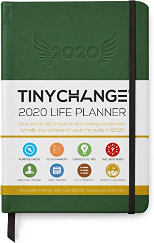 TINYCHANGE 2020 Planner Diary A5 Hardcover Daily; Weekly and Monthly Organizer Stationery Notebook Habit Tracker and Gratitude Journal with Productivity eBooks; Stickers; Thank You Cards; Bookmarks product image
