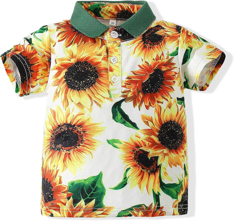 Button Down Hawaiian Shirts Short Sleeve Cool Cartoon Print Aloha Dress Polo Tops T-Shirt for Kids