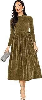 Women's Zip Back Sheer Long Sleeve Glitter Long Dresses